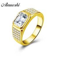 AINUOSHI 6,2 г натуральной Золотое кольцо 10 К твердого желтого золота мужское кольцо 2,5 карат вырезать прямоугольник свадебные Обручение золото