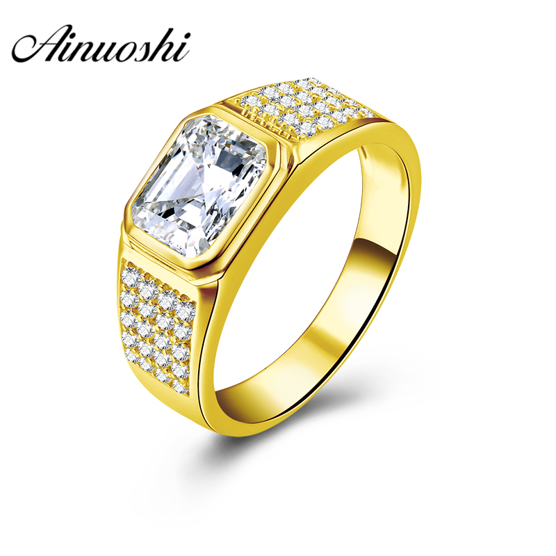 AINUOSHI 6.2g Genuine Gold Ring 10K Solid Yellow Gold Male Ring 2.5 Carat Rectangle Cut Wedding Engagement Gold Jewelry Men Ring цена