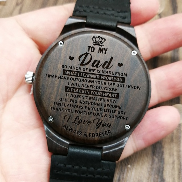 ENGRAVED WOODEN WATCH TO MY DAD I LOVE YOU MAN BIRTHDAY GIFT PERSONALIZED WATCHES WRIST