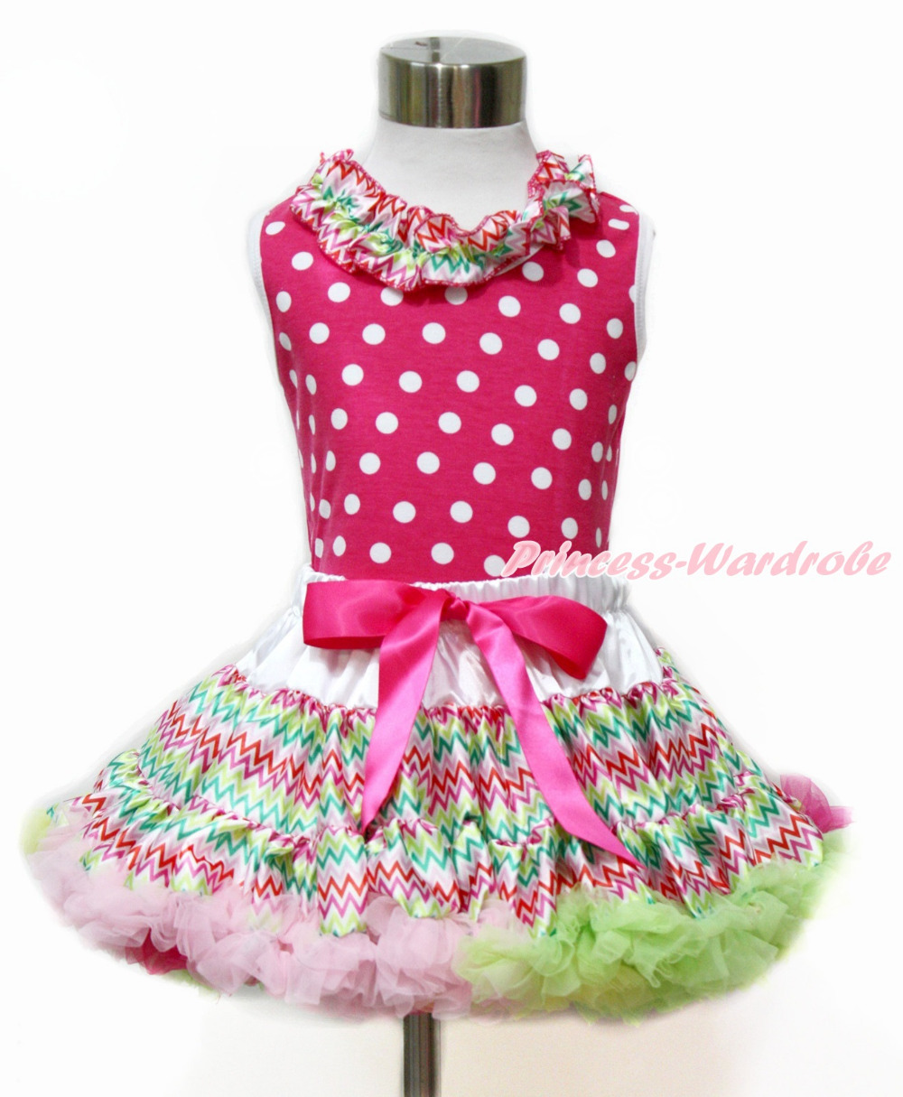 Easter Ruffle Lacing Hot Pink White Dots Top Rainbow Stripe Girl Pettiskirt Set 1-8Y MAMH166 hot pink top shirt camouflage lacing satin trim girl pettiskirt outfit set nb 8y mapsa0642