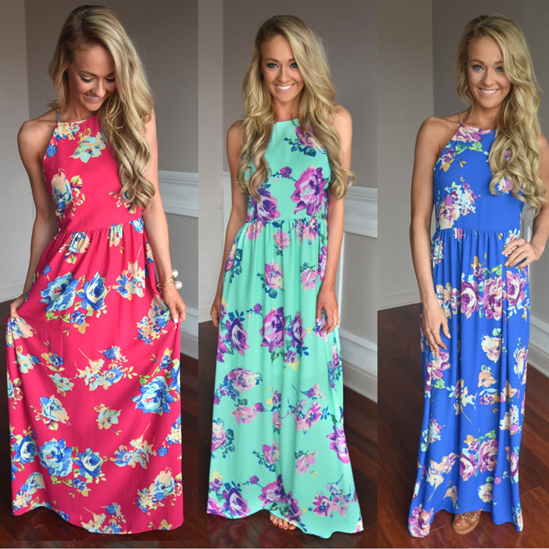 Bellflower summer dress mujeres bohemia de la impresión floral largo dress corre