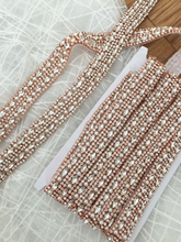 5 yards Thin rhinestone crystal beaded lace trim inRose Gold for wedding bridal sash, wedding gown straps ,bridesmaids belt