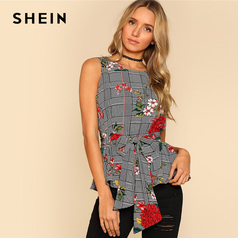 e9f3d74a89 SHEIN Self Belted Floral And Plaid Shell Top Women Fashion Round Neck  Sleeveless Casual Blouse 2018