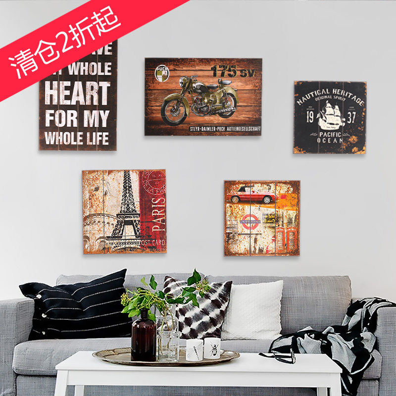American Retro Painted Wooden Porch Decor Restaurant Cafe Bar Living Room  Wall Painting Frame Painting Murals ... Part 56