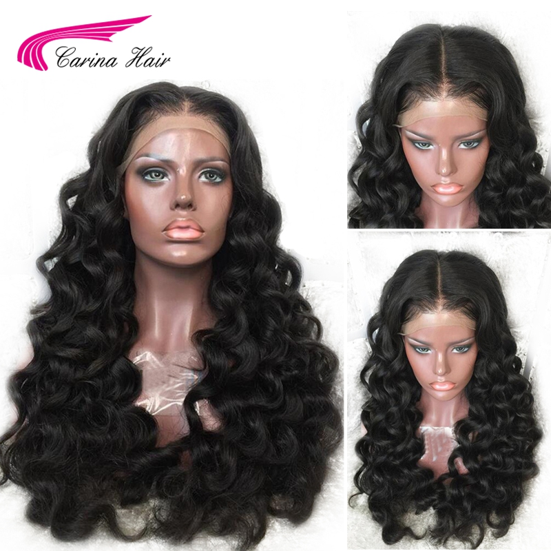 Carina Loose Wave Lace Front Human Hair Wigs With Baby Hair Malaysian Remy Hair Lace Wigs Pre-Plucked Hairline Bleached Knots