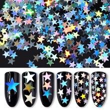 6 Boxes Silver Star Glitter Sequins Gorgeous Laser DIY Nail Art Accessories 3D Manicure Nail Decoration new 3d nail art tips laser silver sequins square round sequins nail glitter rhinestone diy nail wheel art decoration