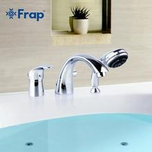 Frap из трех частей Ванны ванна кран полный три отверстия разделения Разделение Ванны ванна горячей и холодной водой с ручным душем F1121