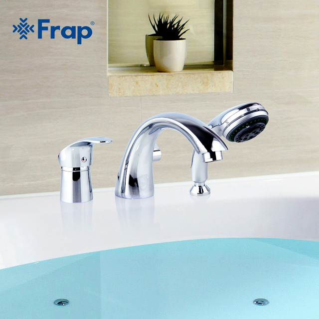 Frap Three piece Bathtub Faucet Full Three hole Separation Split Bath Tub Hot and Cold Water Mixer with Hand Shower F1121