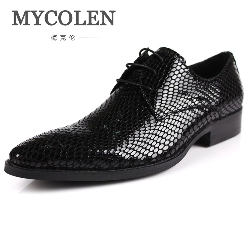 MYCOLEN New Men Shoes Spring And Autumn Black Genuine Leather Oxfords Shoes Pointed Toe Polka Dot Business Lace-Up Dress Shoes pjcmg spring autumn men s genuine leather pointed toe slip on flats dress oxfords business office wedding for men flats shoes