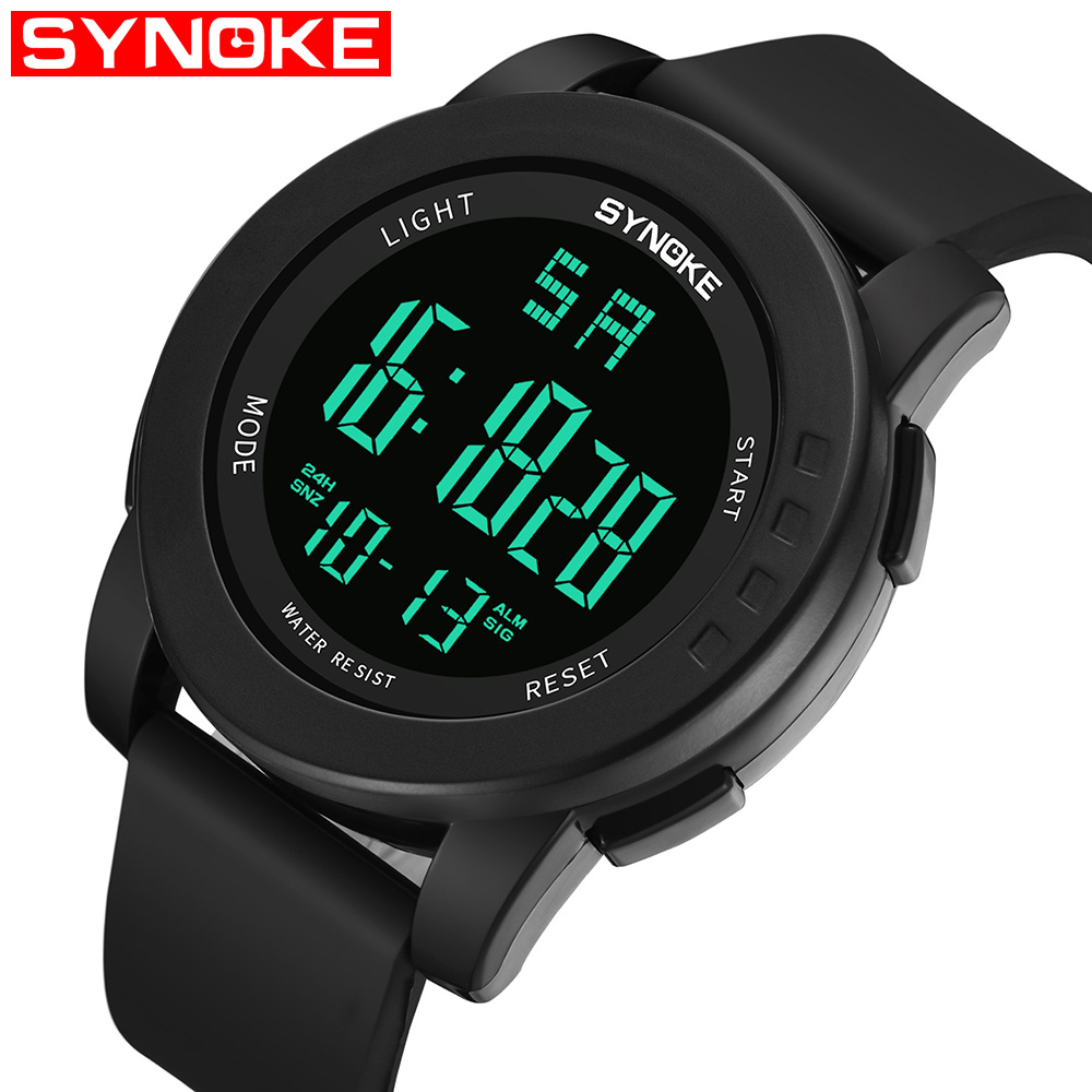 лучшая цена SYNOKE Men Digital Watch Outdoor Sports Waterproof Military Watches Analog and Digital LED Backlight Alarm Stopwatch 9003