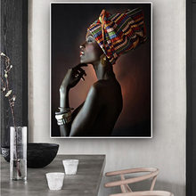 African Nude Woman Indian Headband Portrait Canvas Painting Posters and Prints Scandinavian Wall Art Picture for Living Room(China)