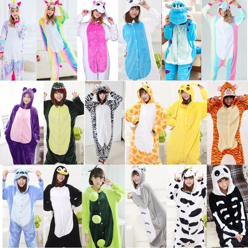 Cartoon Animal Stitch Cat Panda Cow Bear Pikachu Totoro Pajamas For Women Kigurumi Winter Adult Women Animal Hooded Onesie