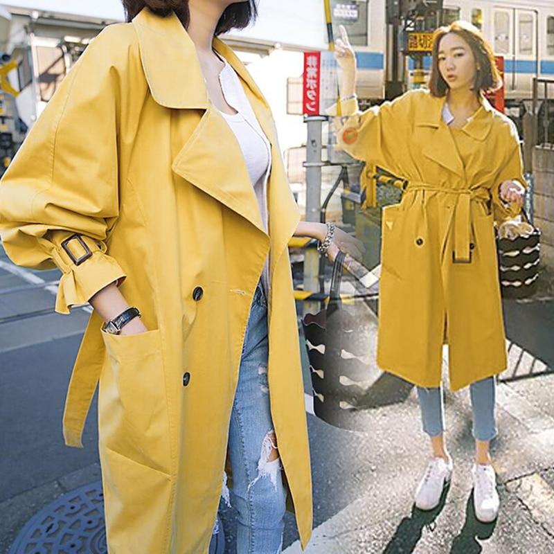 Selvaggio Breve E Giacca Giallo Vento Colore 2018 Sottile Lunga Primavera Nuovo Cappotto Di Versione Coreana Sezione Trasporto Femminile Autunno A jSAR54qLc3