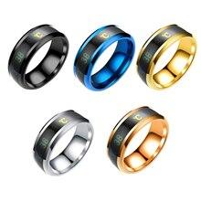 d1075a43e8c3 Acero inoxidable anillo de Color cambiante humor anillos sensación emoción  temperatura anillo ancho 6-13mm de joyería inteligent.