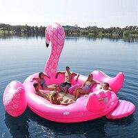Гигантская надувной фламинго плавательный бассейн плот надувная езда ons озеро остров водные игрушки веселье 6 7 взрослых детская вечеринка