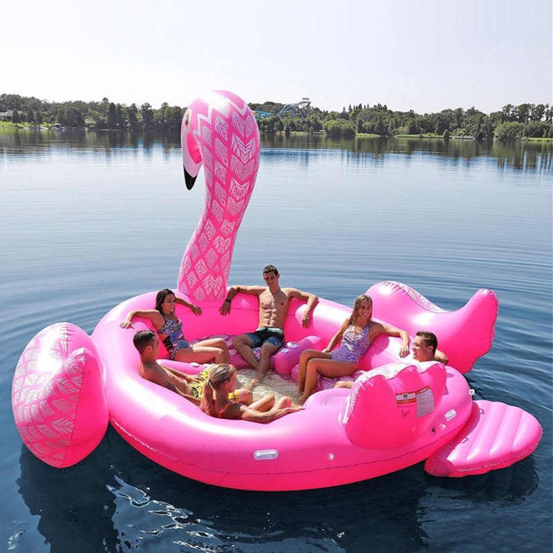 Giant Flamingo Inflatable Swimming Pool Raft  Float Inflatable Ride-ons Lake Island Water Toys Fun 6 7 Adults Children Party Toy