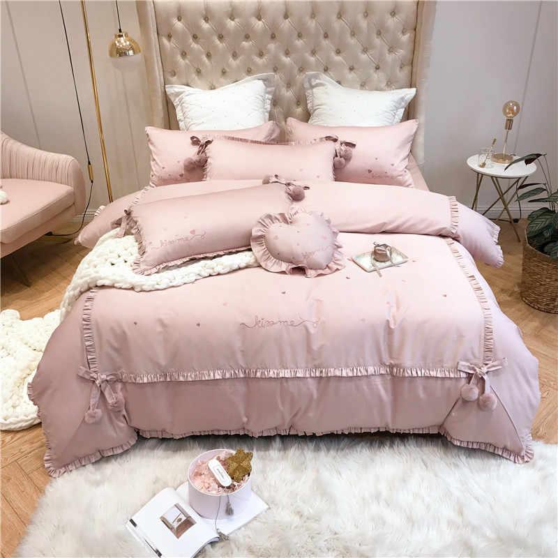 Желтый, красный, розовый шикарный бархатный пододеяльник с оборками, Комплект постельного белья для девочек, очень мягкий комплект постельного белья с вышивкой