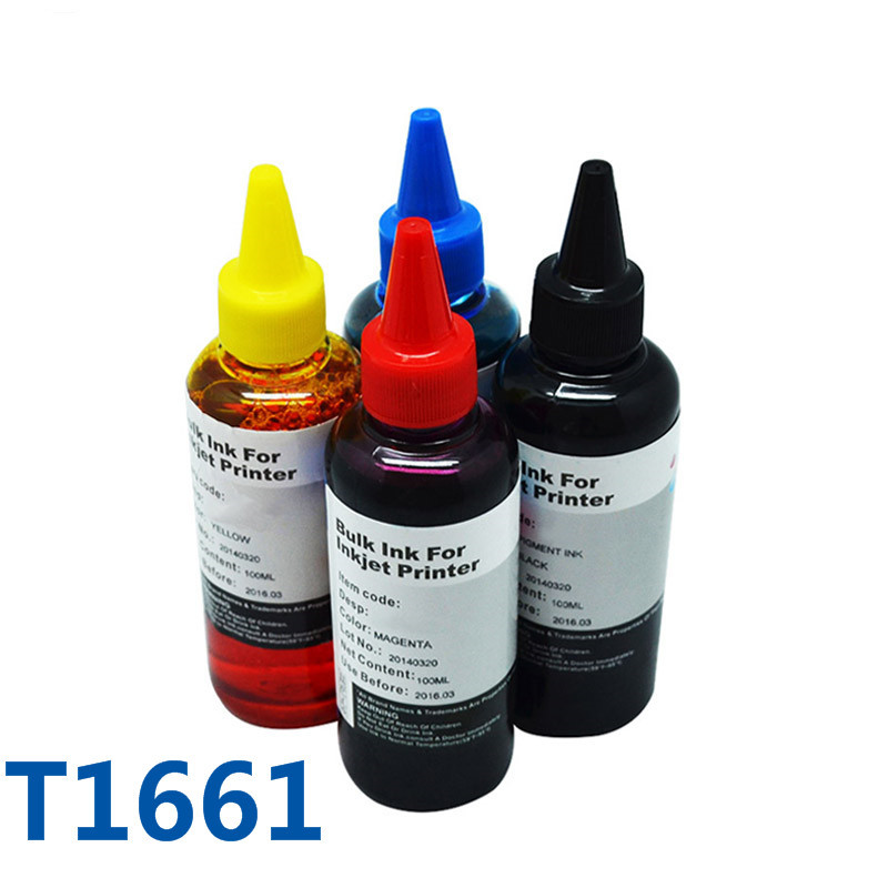 4X100ml Dye Refill Ink For Printer For Epson ME 10/ME 101 For Refill Cartridges T1661/T1662/T1663/T1664 Bulk Printer Ink