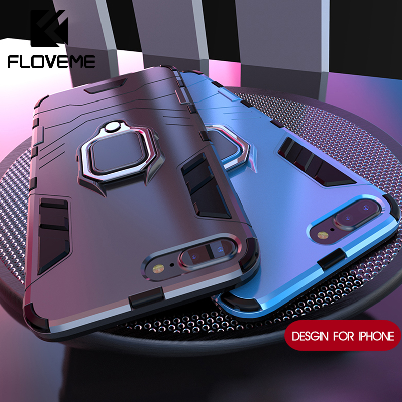 FLOVEME Shockproof Soft Case For iPhone 5 5S X Case For iPhone 6 6s 7 8 Plus Armor Case Ring Holder Cases Back Cover Accessories