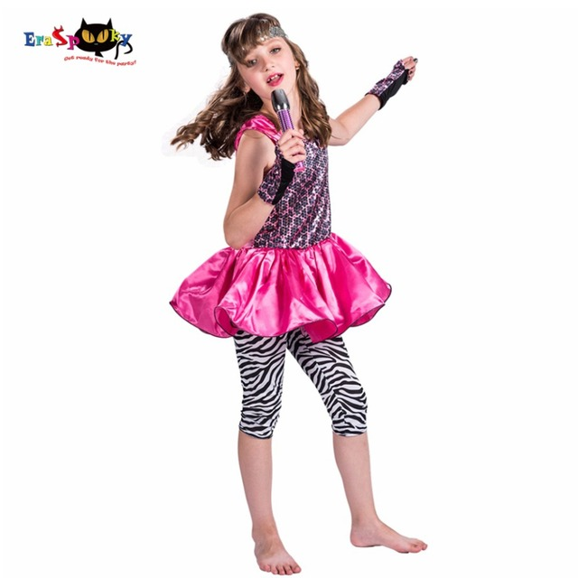 2017 New Arrival 80u0027s Pop Star Witch Costume Girls Pink Dance Dress Set Leopard Printed Party  sc 1 st  AliExpress.com : kids pop star costume  - Germanpascual.Com