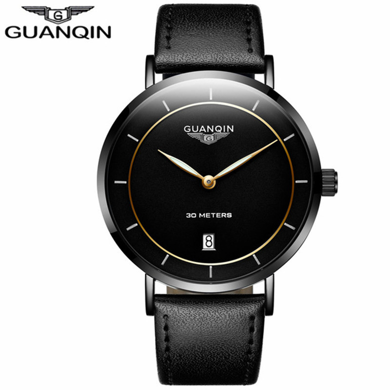 GUANQIN Thin Watch Men Brand Luxury Sapphire Quartz Watch Leather Waterproof Male Clock Mens Wrist Watches relogio masculino watches men luxury brand men quartz ultra thin date clock male waterproof steel strap gold casual wrist watch relogio masculino