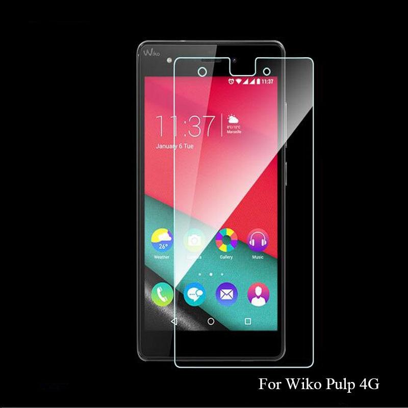 0.26mm främre klar HD Explosionssäker LCD-härdat glasfilm för Wiko Pulp 4G 5 tums skärmskydd pelicula de vidro Guard