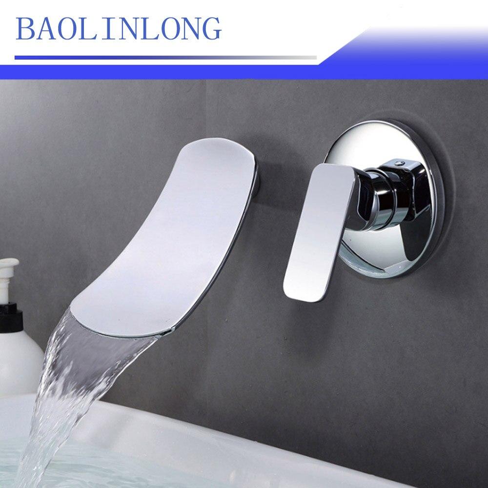 BAOLINLONG In Wall Style Stainless steel Bathroom Faucets Vanity Vessel Sinks Mixer Waterfall Faucet Tap