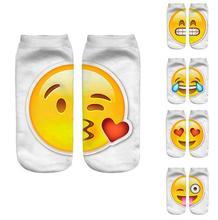 New 3D Emoji Socks Women Fashion Single Side Printing Men Cotton Socks Unisex Socks Pattern Meias Feminina Funny Low Ankle Socks