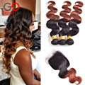 7A Brazilian Virgin Hair With Closure Body Wave 1B/33# Two Tone Lace Closure With Bundles Ombre Brazilian Hair Weave Gossip Girl