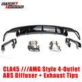 Mercedes CLA W117 com CLA45 AMG estilo abs difusor + liga ponta de escape para o benz CLA180 4-outlet CLA200 CLA250