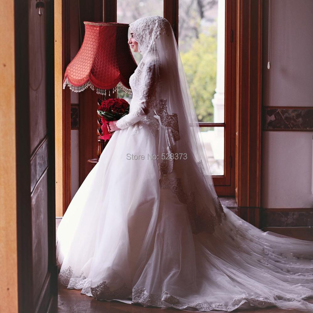 US $166.16 160% OFFYNQNFS YWD16 Robe de Mariee Hochzeitskleid Appliqued  Pearls Beaded Hijab Muslim Wedding Dress 20169 Turkey ArabicBridesmaid