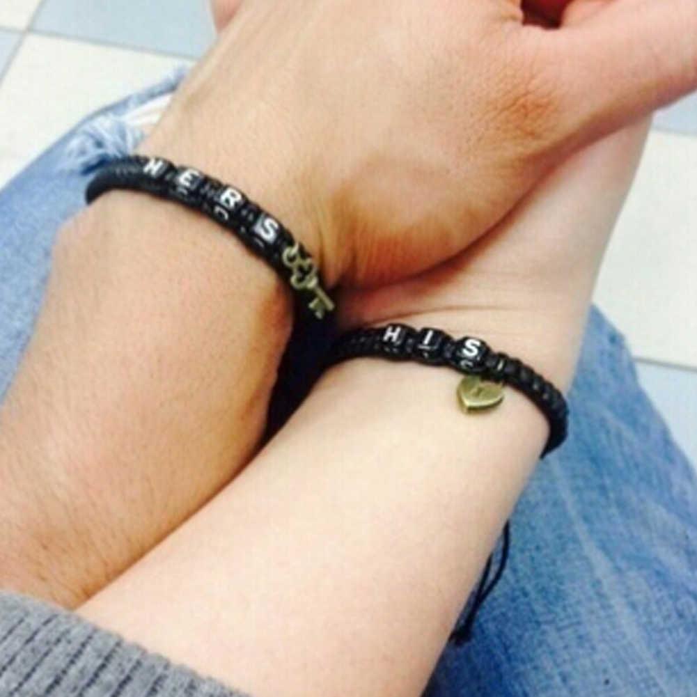 1 par hecho a mano pulsera de los Amantes ajustable juego de brazaletes para parejas, su y la suya pulsera envío gratis