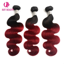 Hot Beauty Hair 1 Piece Ombre Brazilian Body Wave Hair Weave Bundles 1B/Burgundy Ombre Human Hair Extension 1b 99J Non Remy Hair