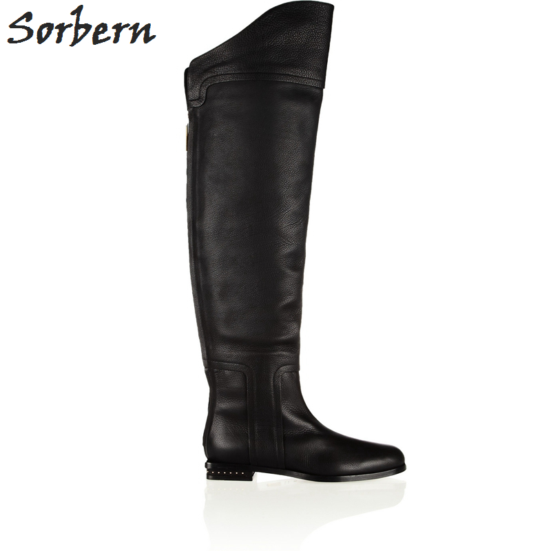 Sorbern Custom Low Heels Crystal Round Toe Knee High Women Boots Winter Women Shoes Square Heeled Ladies Boots Long Large Size sorbern mary janes round toe platform 4 high heels women pumps square chunky heeled ladies shoes size 42 gothic shoes large