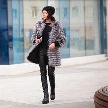BFFUR 2017 Fox Fur Coat Fashion Real Fur Genuine Silver Fox Real Fur Coats For Women Winter Outerwear Slim Stripe Coat BF-C0006