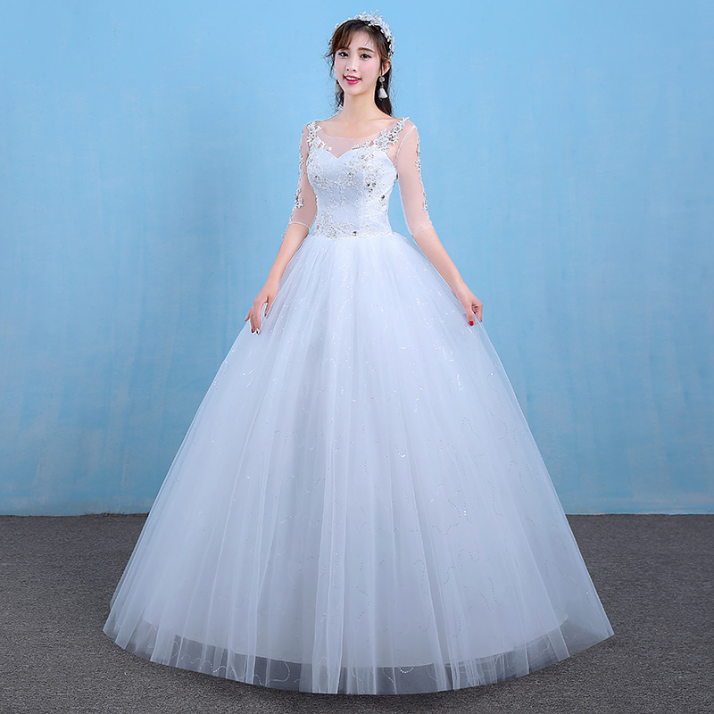 Luxury Princess Ball gown Wedding Dress Lace Embroidery Beading ...