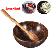 Coconut Shell Bowl Handmade Tableware Natural Eco-friendly Fruit Bowl for Child Adult Family Tableware with Spoon Handicraft