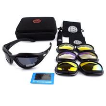 Popular C5 Tactical Polarized Shooting Glasses Men Outdoor Hunting Goggles 4 lenses Kit Hiking Cycling Eyewear