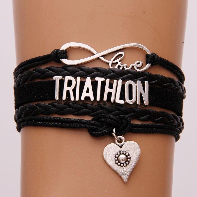 Rope Braided Infinity Triathlon Love Bracelet w charm