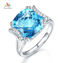 Peacock Star 14K White Gold Luxury Anniversary Ring 9.6 Ct Cushion Swiss Blue Topaz Diamond