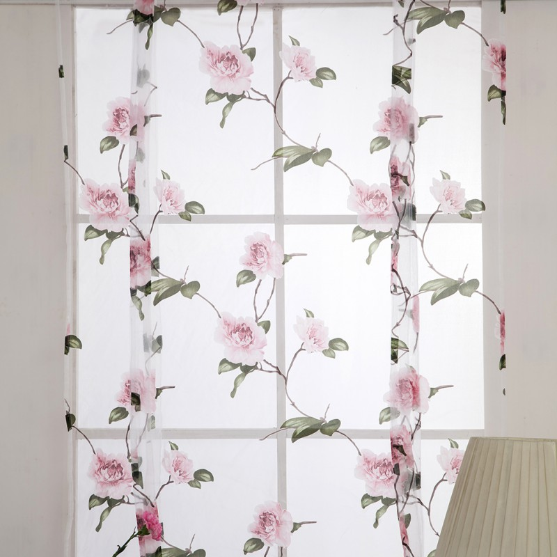 Kitchen Short Curtains Roman Blinds White Sheer Tulle: Aliexpress.com : Buy 2018 Floral Curtains Short Kitchen