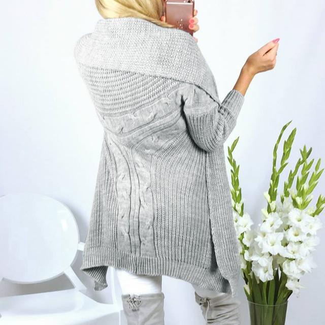 Otoño Invierno Mujeres Largo Poncho Solapa de Turn Down Cuello de Manga Larga Sólido Suéteres de las Rebecas de Punto Abrigos Slim Fit Warm Outwears