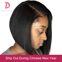 Short Lace Front Human Hair Wigs Bob Wig Full and Thick For Black Women Natural Color Brazilian Remy Hair Free Shipping Dollface(China)