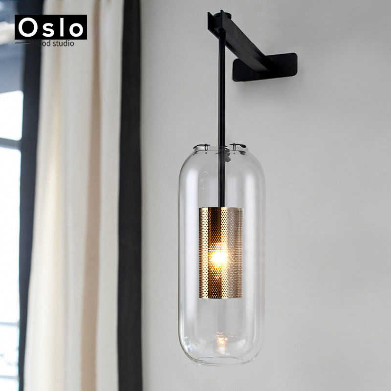 Современный из прозрачного стекла абажур Бра Настенные светильники для спальни кровати Ресторан кабинет подвесные светильники Лофт ретро Железная Сетка светильник лампа