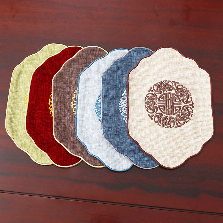 Fine Embroidery Joyous Chinese Linen Cloud Placemat Cotton Bowl Plate Pallet Mats Dining Table Pads Coffee Mat 45 x 22cm