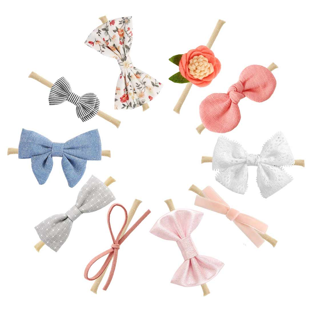 Baby Bows Newborn Girls Flower Headband Boneless Comfort Infant Princess Headdress Baby Girl Turban Headwear Hair Accessories