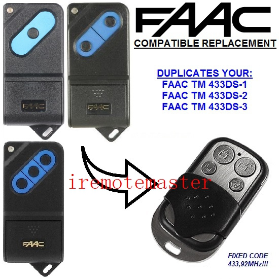 Top quality and favorable price! For FAAC TM 433DS-1,TM 433DS-2,TM 433DS-3 replacement remote control 433MHZ free shopping high quality and favorable price for ecp garage door replacement remote