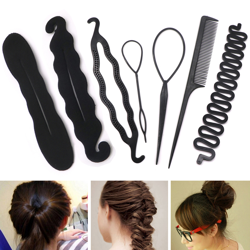 Magic Hair Styling Twist Styling Bun Maker Hairpins Hairdisk Meatball Head Black Hair Accessories For Women Hair Braiding Tools