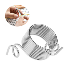 2Size 17-19mm Yarn Spring Guides Stainless Steel Needle Thimble Ring Type Knitting Tools Finger Wear Sewing Accessories