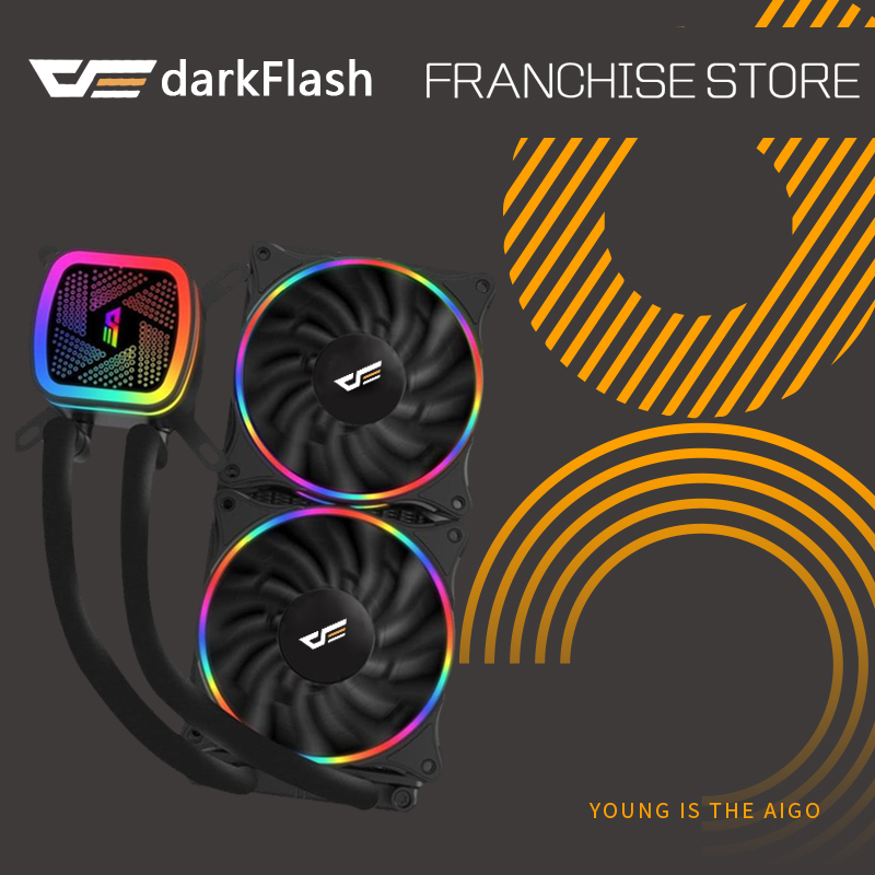 darkflash rain Water Cooling Ice Tower T120 Water Cooler with LED 120mm 4pin PWM CPU Cooling Fan for Inetel and AMD all of CPU